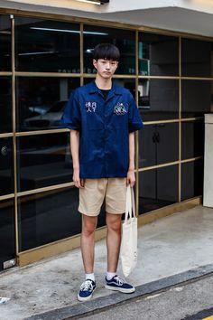 SHIRT   ROMANTIC CROWN PANTS   DYCLEZ SHOES   VANS Street Style Jin Sungwoo…