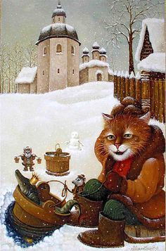 Fabulous Cats of Talented Artist Alexander Maskaev - A magical fairy-tale world of sprites, hobgoblins, water and, of course, the fabulous red cat. These paintings evoke a kind smile.