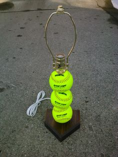 Softball Lamp. Made with real softballs by SSCElkhart on Etsy, $27.00