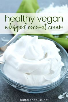 Healthy and delicious Vanilla Whipped Coconut Cream! This whipped coconut cream is creamy and lightly sweetened with maple syrup. A perfect whipped topping! Coconut Milk Whipped Cream, Dairy Free Whipped Cream, Recipes With Coconut Cream, Making Whipped Cream, Recipes With Whipping Cream, Whipped Cream Frosting, Canned Coconut Milk, Cream Butter, Cream Recipes