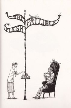"""""""The Fallible Flesh"""" from Scrap Irony by Felicia Lamport, drawings by Edward Gorey"""