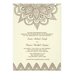 Henna Flower Premium Recycled  Wedding Card Weddings And Wedding
