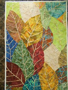 KIBOKO: szycie po liniach falistych Crumpled Paper, Miniature Quilts, Landscape Quilts, Art Journaling, Textile Art, Fiber Art, Feather, Quilting, Collage