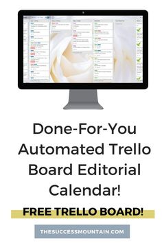 Free Trello Board Template - How to Use Trello to Automate Your Editorial Calendar - The Success Mountain 2 Trello Templates, Online Business Plan, Content Marketing Strategy, Media Marketing, Social Media Template, Blog Planner, Business Inspiration, Success, How To Plan