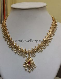 Jewellery Designs: Uncut Stones Polki Set