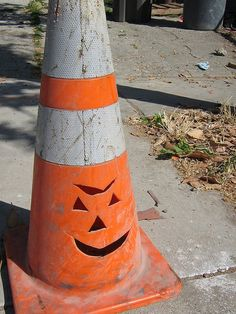67acf3ddb30a46a9caecfedbc7acfb8d jack o lantern cone ripped up cone old traffic cones pinterest