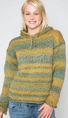 Hooded Pullover Free Knitting Pattern from Red Heart Yarns ...