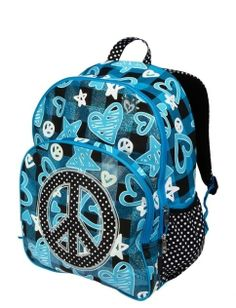New Nwt JUSTICE Girls School Backpack Bag Bookbag Tote Blue Glitter Earbud Port #Justice