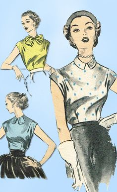 1950s Vintage Advance Sewing Pattern 6073 Cute Sew Easy Misses Blouse Sz 30 B #Advance