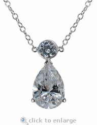 Cubic Zirconia CZ Necklace 3 Carat Pear In 14K White Gold By Ziamond.  The Pontiac Necklace features five .50 carat bezel set rounds and a 3 carat pear that suspends from the center round.  $695 #ziamond #cubiczirconia #cz #necklace #pear #diamond #jewelry