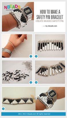 how to make a safety pin bracelet - create beaded safety pin Safety Pin Art, Safety Pin Crafts, Safety Pin Jewelry, Wire Jewelry, Safety Pins, Jewelery, Beaded Jewelry, Beaded Bracelets, Jewelry Sets