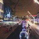 Just in time for Christmas and to usher in the New Year, Montréal's Quartier des spectacles hosts the Luminothérapie event featuring Loop, with optical effects to charm children and adults alike with the magic of animated film. #Architecture #Design