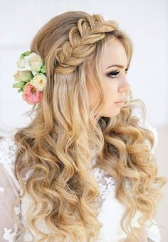 Loose headband braid and voluminous curls