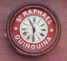Antique French St Raphael Tole Tin Advertising Bistro Wall Clock C 1920