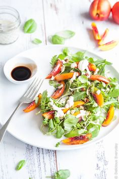 Vegan Grilled Nectarine Salad - A gorgeously simple salad with the sweetness of nectarines. Serve it as a side dish or for a light lunch. | Click for the recipe