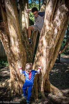 Irmão mais velho escalando árvore enquanto o irmão mais novo observa