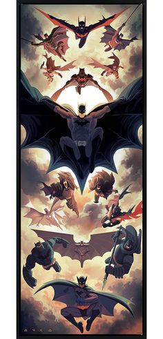 'Batman Legacy' print by Kris Anka through Sideshow Collectibles Bob Kane, Joker Batman, Spiderman, Batman And Superman, Batman Artwork, Batman Wallpaper, Comic Kunst, Comic Art, Comic Books Art