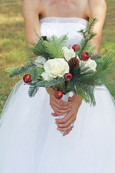 Winter Wedding Bouquet - Pine cones and Roses Winter Wonderland.   DIY