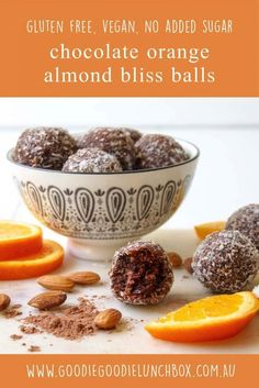 These Chocolate Orange Almond Bliss Balls are so good. Dairy and gluten free these flavoursome bliss balls will satisfy any sweet tooth. Freezer friendly and quick and simple to make grab them now! Lunch Box Recipes, Raw Food Recipes, Dessert Recipes, Lunchbox Ideas, Free Recipes, Candy Recipes, Yummy Recipes, Healthy Recipes, Yummy Snacks