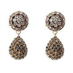 Baroque Gold Crystal Drop Earrings