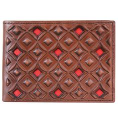 Hooey Signature Red and Brown Bi Fold Wallet