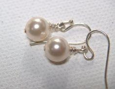 Swarovski white pearl earrings