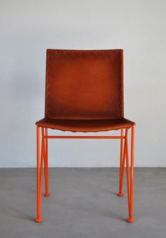 Garza Furniture - Marfa, Texas - Saddle Leather Dining Chair    can get different color legs