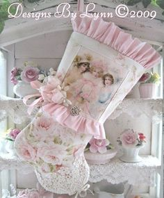Pastel Ladies Pink Stocking OOAK  Designs By Lynn-pink, roses, shabby, chic, ruffles, Victorian, Vintage, Lynn,