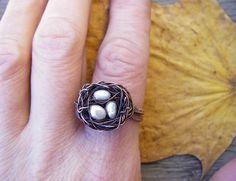 """Купить Кольцо """"Уютное гнёздышко"""" - кольцо, медное кольцо, кольцо из меди, авторское кольцо"""
