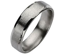 Titanium Beveled Edge 6mm Satin and Polished Ring - Unisex
