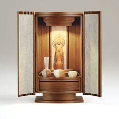 【ミニ仏壇】アーク Cream Bedroom Furniture, Buddhist Shrine, Altar Design, Mandir Design, Pooja Room Door Design, Meditation Altar, Little Buddha, Puja Room, Buddha Art