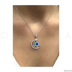 Collar en Plata Rodinada de Luna y Estrella en Opalo. #oparina #star #moon #estrella #luna #sterlingsilver #boho #gypsy #design #jewelrydesign  #madewithstudio