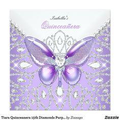 Tiara Quinceanera 15th Diamonds Purple Butterfly