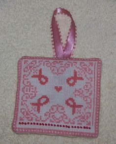 Cross stitch breast cancer Free Charts, I Believe In Pink, Crossstitch, Breast Cancer, Cure, Straw Bag, Burlap, Reusable Tote Bags, Crafty