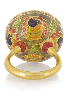 Alice Cicolini | Kimono and Monkey enameled 22-karat gold multi-stone ring | NET-A-PORTER.COM