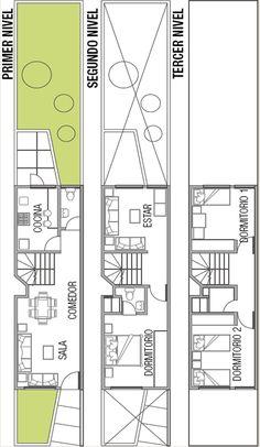 Una familia de cuatro personas tienen un terreno angosto , obviamente tendrá una fachada angosta , y requieren planos para terreno de pequeñ...