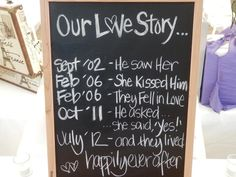 Love Story Chalkboard    Source: Bella Donna's