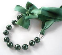 Green Bridesmaids Necklace  Silk Ribbon and by liliwinklerbrides, 27$