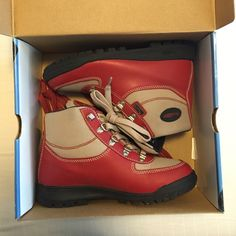 Red & tan boots Red & tan Vasque boots! Worn only a few times, but in great condition! Vasque Shoes Boots