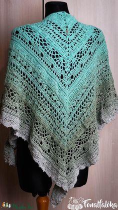 Szürke-menta horgolt csipke kendő (Fonalfaloka) - Meska.hu Blanket, Crochet, Diy, Fashion, Crochet Hooks, Blankets, Moda, Bricolage, La Mode