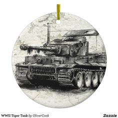 WWII Tiger Tank Round Ceramic Decoration