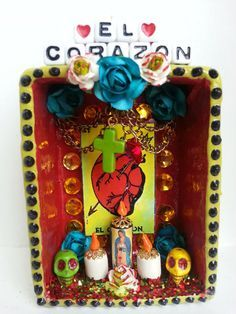 day of the dead altar Mexican Crafts, Mexican Folk Art, Mexican Stuff, Fun Crafts, Diy And Crafts, Cigar Box Crafts, Spanish Projects, Day Of The Dead Skull, Mexican Designs