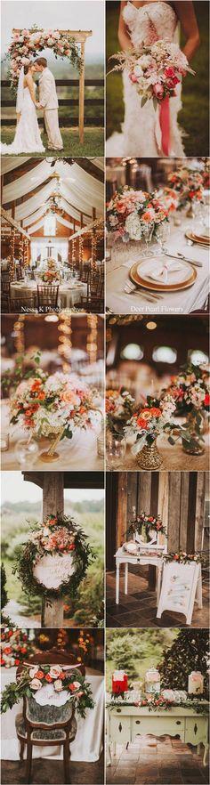 vintage coral orange wedding color ideas / http://www.deerpearlflowers.com/fall-wedding-color-combos/