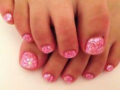 Pink glitter toenails