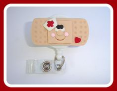 Retractable badge holder - Band aid Buddy badge reel - beige red white polymer clay - nurse