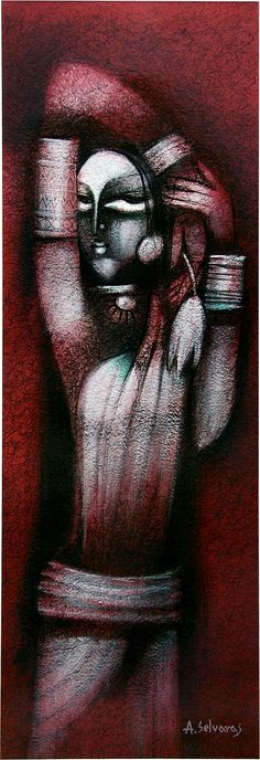 Enchantress No. 11 by A. Selvaraj available at Addicted Art Gallery - Medium: Pen, ink, water colour and acrylic on paper, signed by the artist; African Art Paintings, Modern Art Paintings, Indian Contemporary Art, Indian Folk Art, Figure Painting, Painting Art, Online Art Gallery, Female Art, Illustration Art