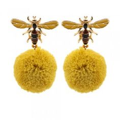 Mustard Coloured Hair Ball Allow earring with Bee Theme