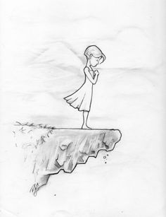 Girl on cliff. Some days I dream about jumping off and flying. Girl on cliff. Some days I dream about. Sad Drawings, Girl Drawing Sketches, Art Drawings Sketches Simple, Dark Art Drawings, Girly Drawings, Art Drawings Beautiful, Sketchbook Drawings, Pencil Art Drawings, Cartoon Drawings