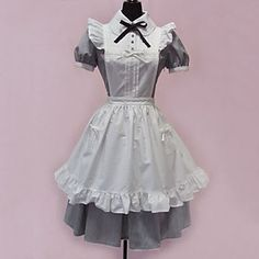 Short+Sleeve+Short+Cotton+Maid+Cosplay+Sweet+Lolita+Dress+with+Apron+–+USD+$+109.99