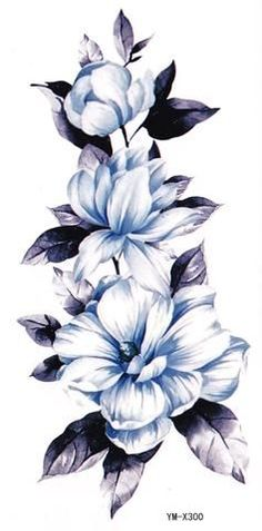 Floral Temporary Tattoo, Flower Tattoos, Tattoo Sleeves, Fake Tattoos, Watercolor Flower Tattoo, Vintage Temporary Tattoos, Blue Flower